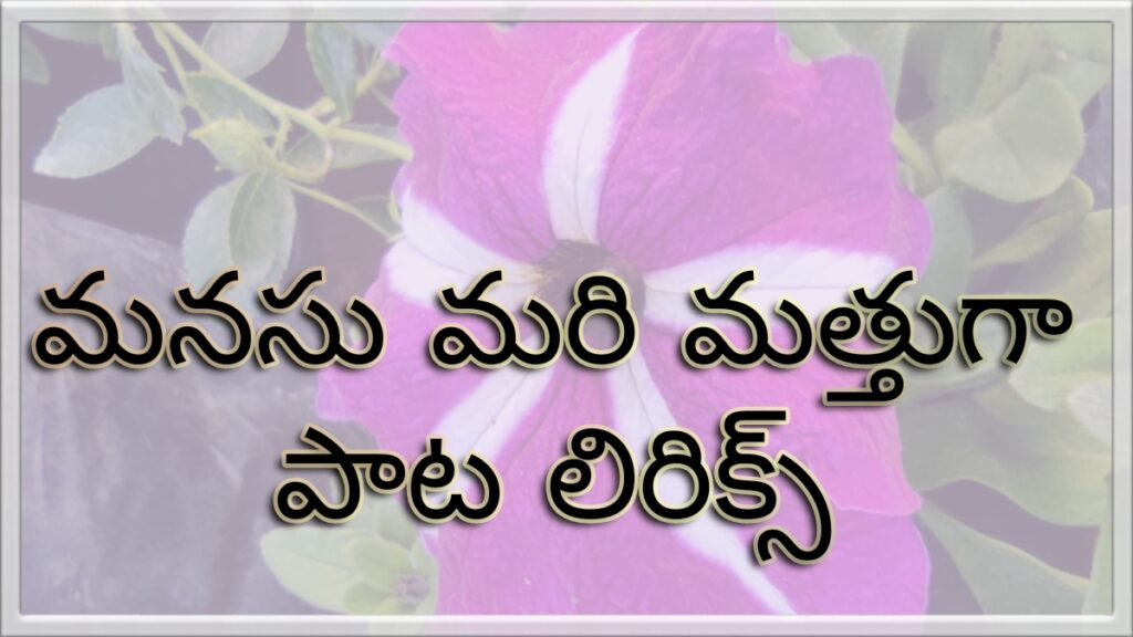 Manasu Maree  Mathuga Song Telugu Lyrics-V-Movie-Nani